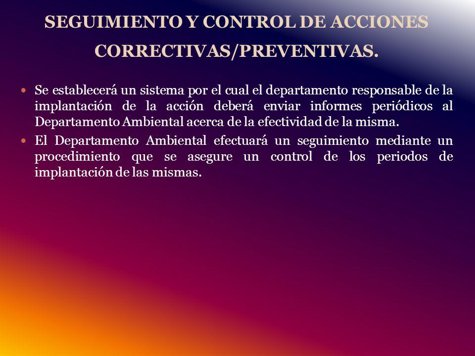 SEGUIMIENTO Y CONTROL DE ACCIONES CORRECTIVAS/PREVENTIVAS.