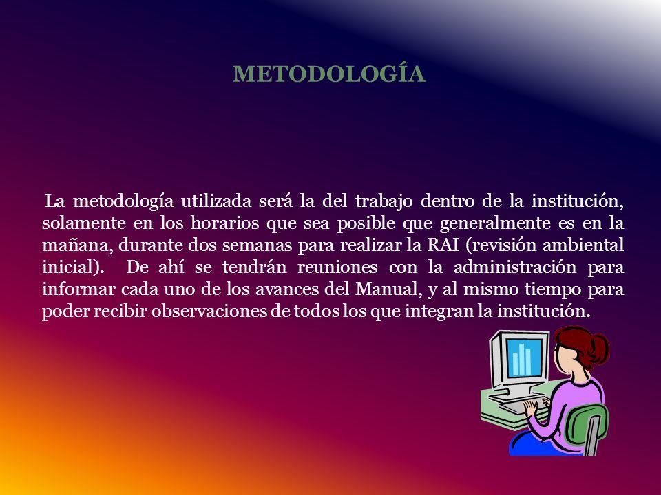 METODOLOGÍA La metodología utilizada será la del trabajo dentro de la institución, solamente en los horarios que sea posible que generalmente es en la mañana, durante dos semanas para realizar la RAI (revisión ambiental inicial).
