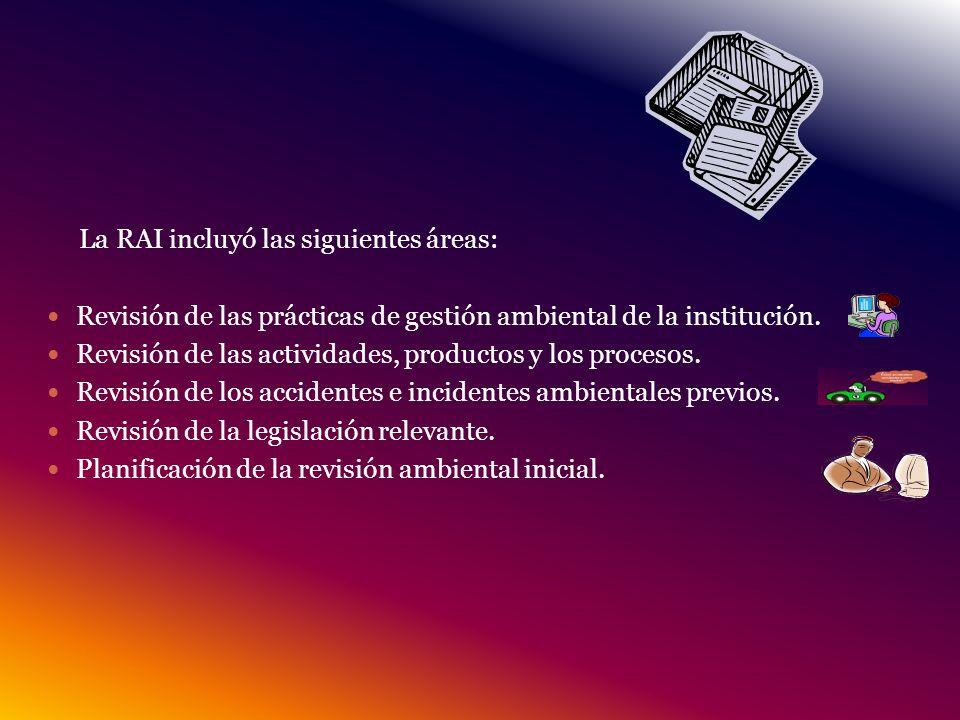 La RAI incluyó las siguientes áreas: Revisión de las prácticas de gestión ambiental de la institución.