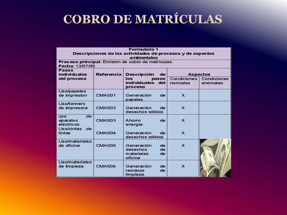 COBRO DE MATRÍCULAS