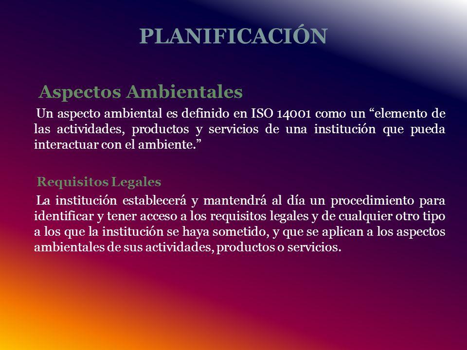 PLANIFICACIÓN Aspectos Ambientales Un aspecto ambiental es definido en ISO 14001 como un elemento de las actividades, productos y servicios de una institución que pueda interactuar con el ambiente.