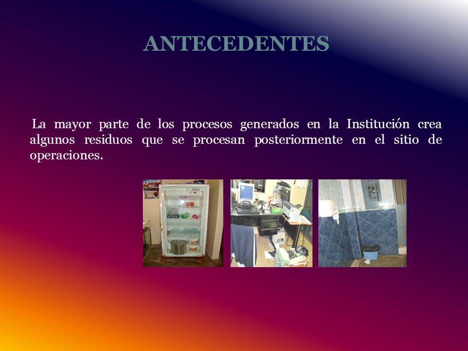 ANTECEDENTES La mayor parte de los procesos generados en la Institución crea algunos residuos que se procesan posteriormente en el sitio de operaciones.