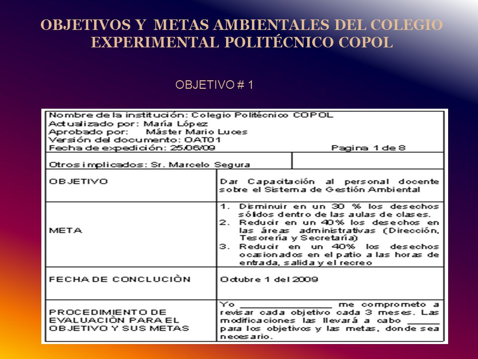 OBJETIVOS Y METAS AMBIENTALES DEL COLEGIO EXPERIMENTAL POLITÉCNICO COPOL OBJETIVO # 1
