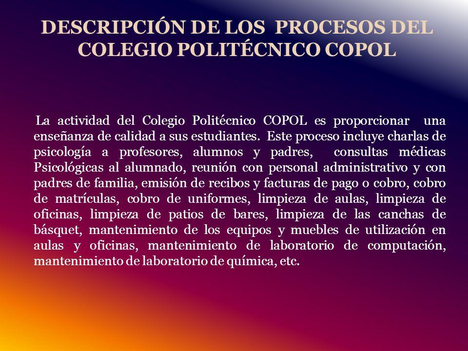 DESCRIPCIÓN DE LOS PROCESOS DEL COLEGIO POLITÉCNICO COPOL La actividad del Colegio Politécnico COPOL es proporcionar una enseñanza de calidad a sus estudiantes.