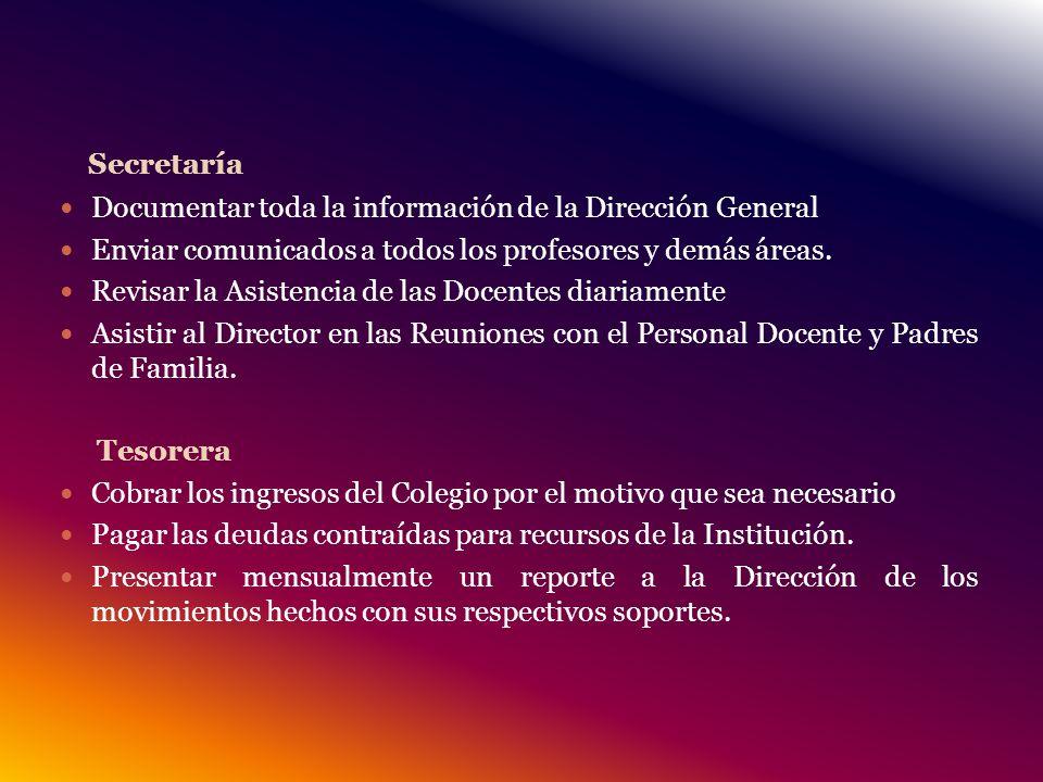 Secretaría Documentar toda la información de la Dirección General Enviar comunicados a todos los profesores y demás áreas.