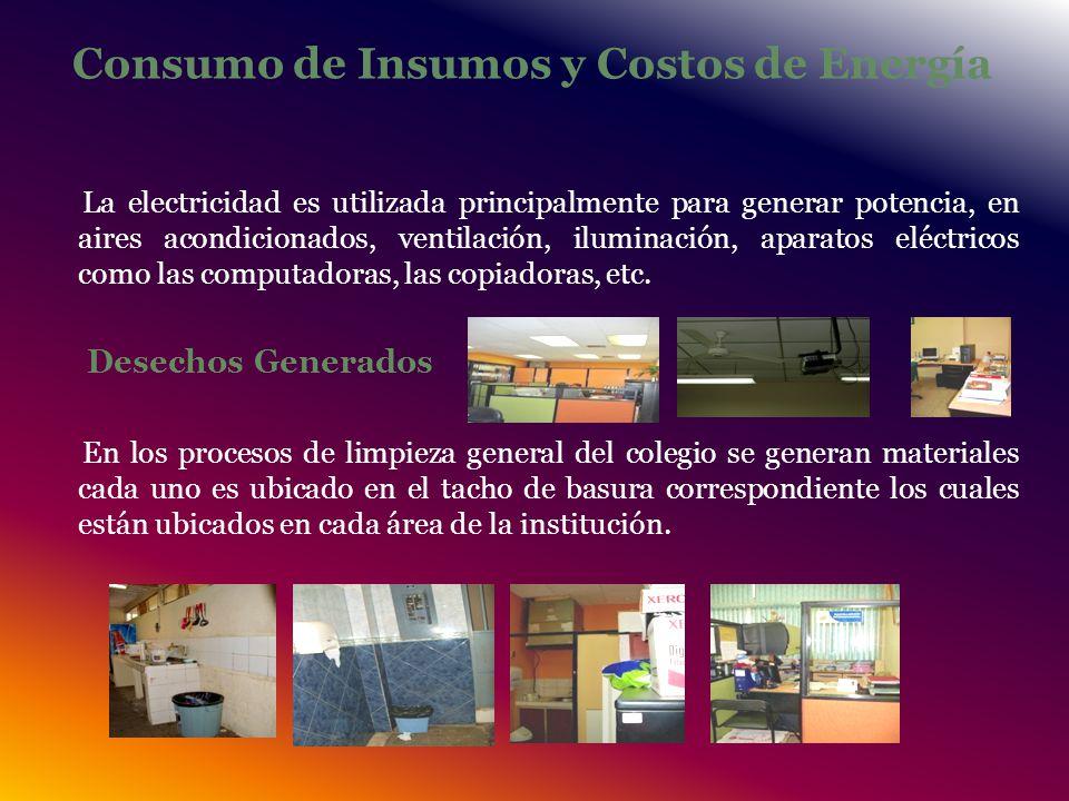 Consumo de Insumos y Costos de Energía La electricidad es utilizada principalmente para generar potencia, en aires acondicionados, ventilación, iluminación, aparatos eléctricos como las computadoras, las copiadoras, etc.