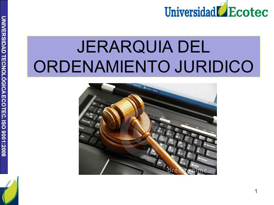 UNIVERSIDAD TECNOLÓGICA ECOTEC. ISO 9001:2008 JERARQUIA DEL ORDENAMIENTO JURIDICO 1