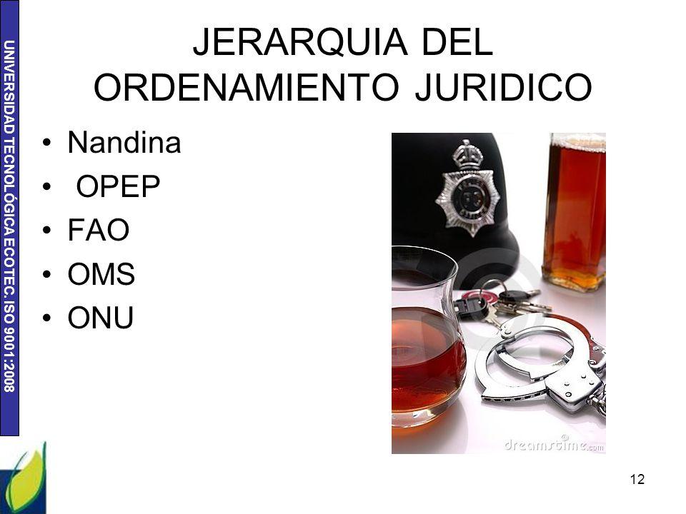 UNIVERSIDAD TECNOLÓGICA ECOTEC. ISO 9001:2008 JERARQUIA DEL ORDENAMIENTO JURIDICO Nandina OPEP FAO OMS ONU 12