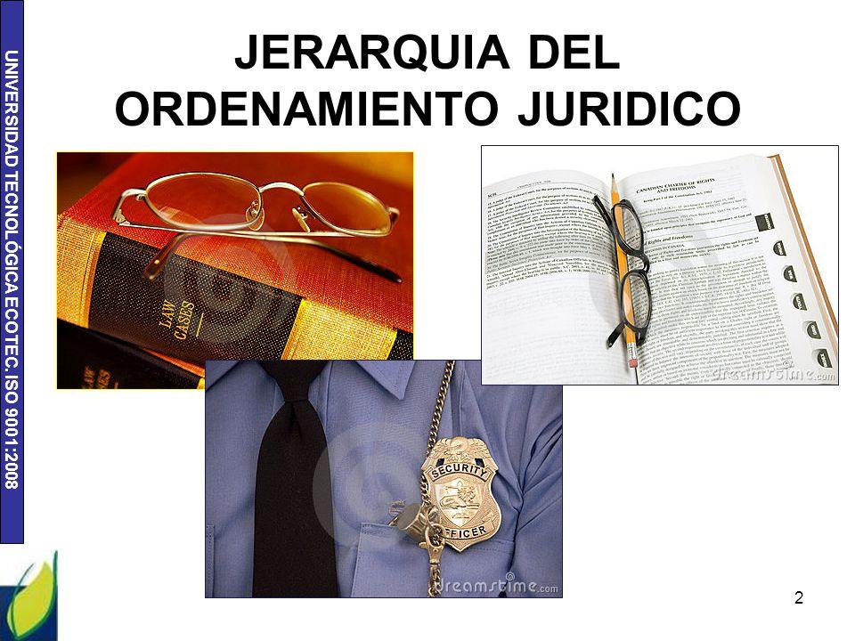 UNIVERSIDAD TECNOLÓGICA ECOTEC. ISO 9001:2008 2 JERARQUIA DEL ORDENAMIENTO JURIDICO