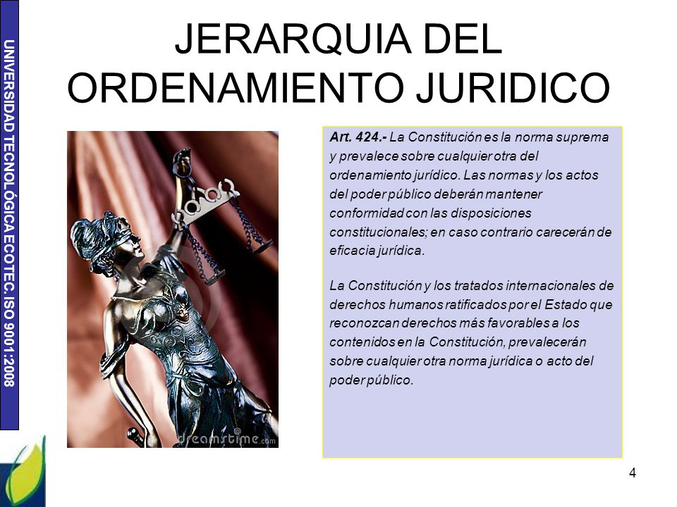 UNIVERSIDAD TECNOLÓGICA ECOTEC. ISO 9001:2008 JERARQUIA DEL ORDENAMIENTO JURIDICO Art. 424.- La Constitución es la norma suprema y prevalece sobre cua