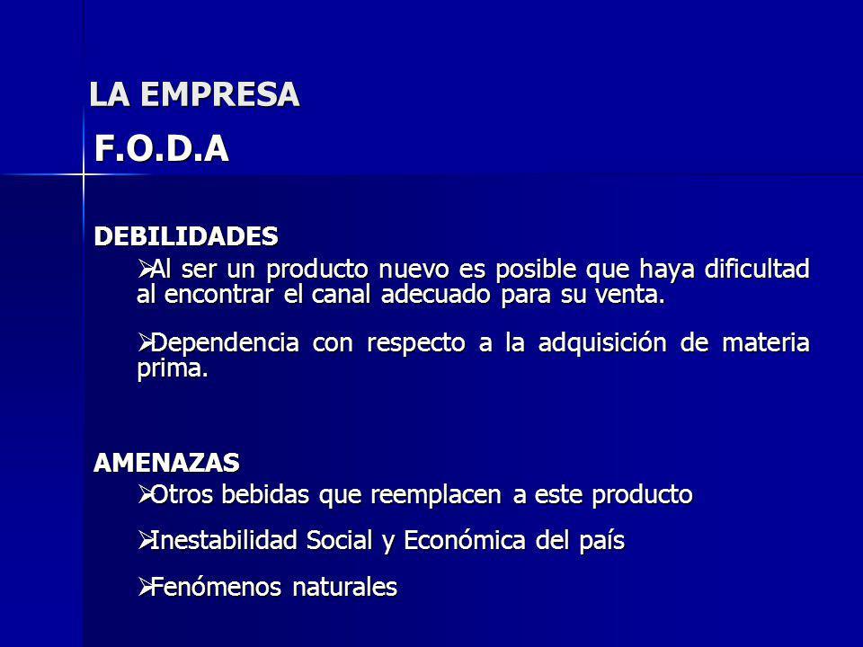 LA EMPRESA LA EMPRESA F.O.D.ADEBILIDADES Al ser un producto nuevo es posible que haya dificultad al encontrar el canal adecuado para su venta. Al ser