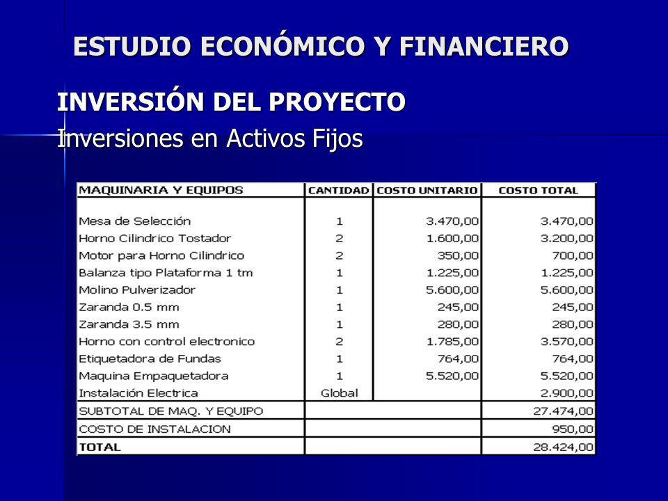 ESTUDIO ECONÓMICO Y FINANCIERO INVERSIÓN DEL PROYECTO Inversiones en Activos Fijos