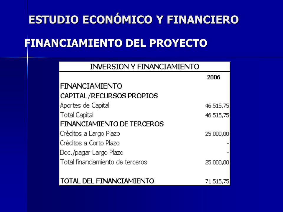ESTUDIO ECONÓMICO Y FINANCIERO FINANCIAMIENTO DEL PROYECTO