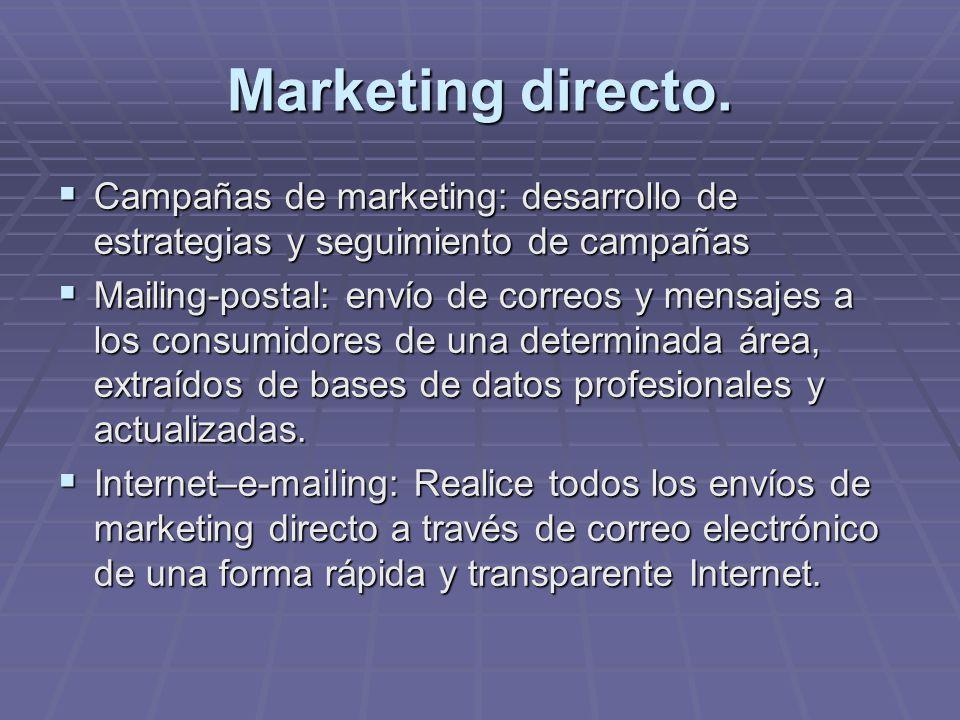 Marketing directo. Campañas de marketing: desarrollo de estrategias y seguimiento de campañas Campañas de marketing: desarrollo de estrategias y segui