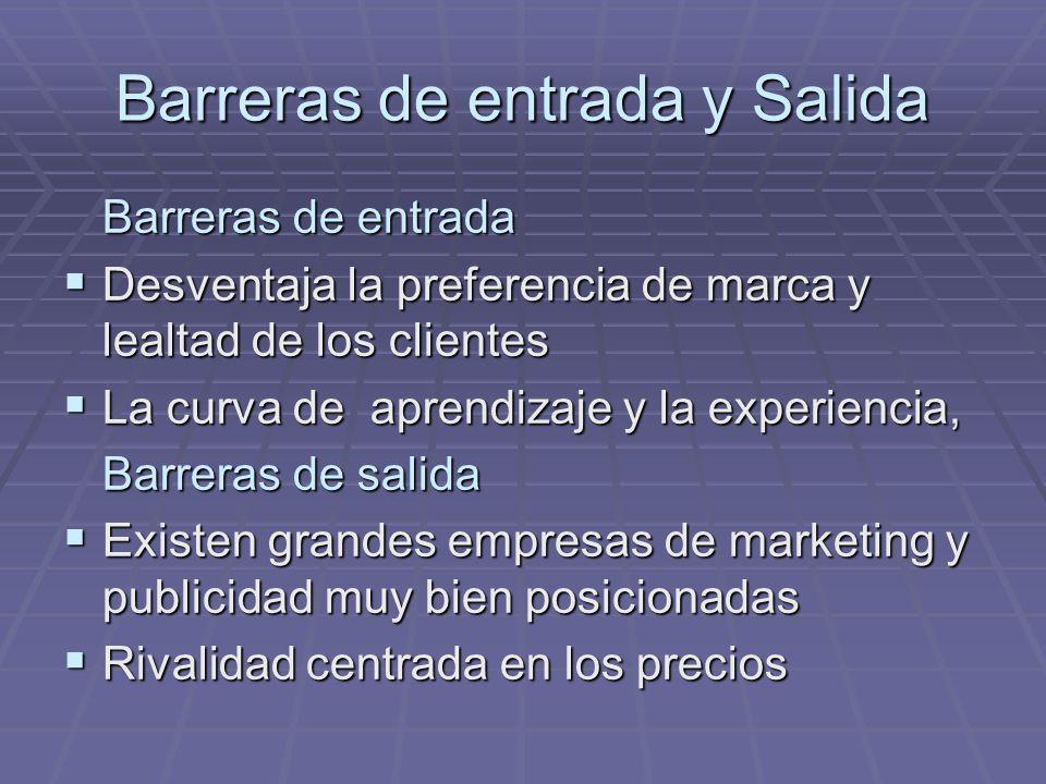 Barreras de entrada y Salida Barreras de entrada Desventaja la preferencia de marca y lealtad de los clientes Desventaja la preferencia de marca y lea