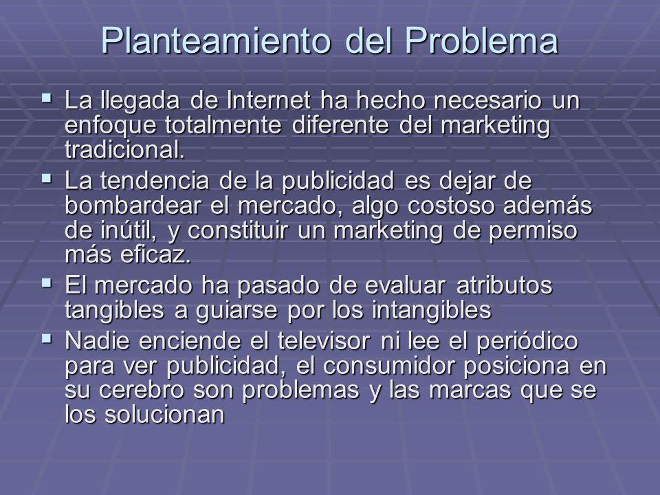 Planteamiento del Problema La llegada de Internet ha hecho necesario un enfoque totalmente diferente del marketing tradicional. La llegada de Internet