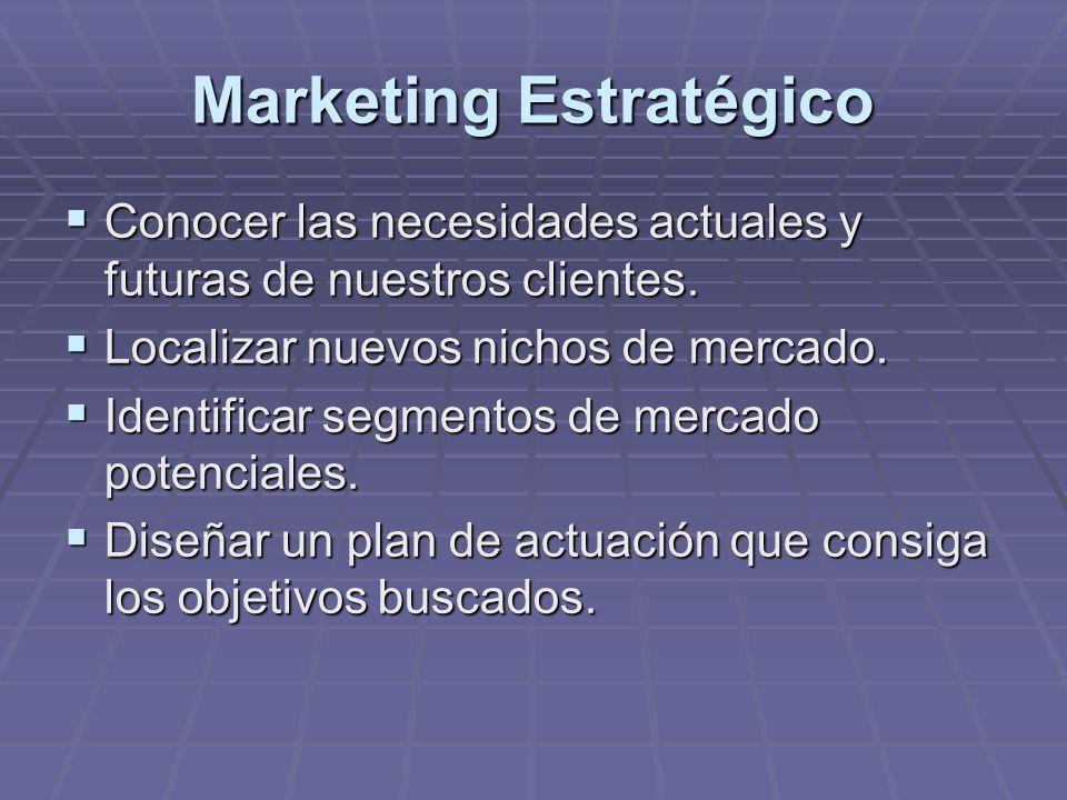 Marketing Estratégico Conocer las necesidades actuales y futuras de nuestros clientes. Conocer las necesidades actuales y futuras de nuestros clientes