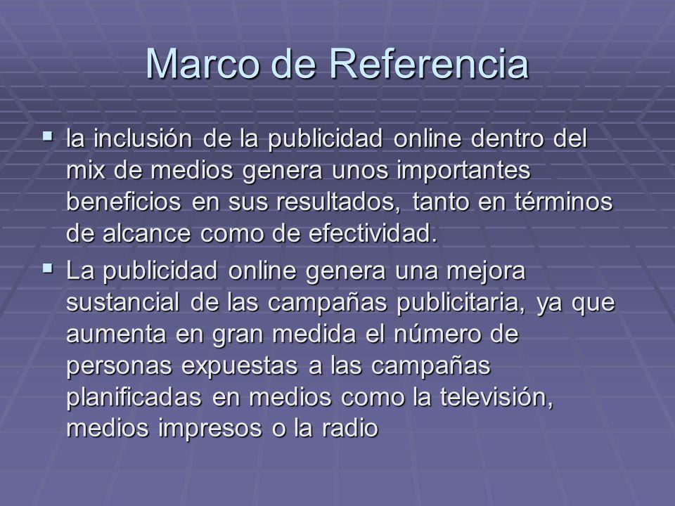 Marco de Referencia la inclusión de la publicidad online dentro del mix de medios genera unos importantes beneficios en sus resultados, tanto en térmi