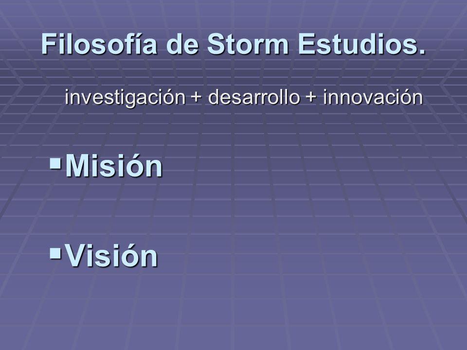Filosofía de Storm Estudios. investigación + desarrollo + innovación Misión Misión Visión Visión