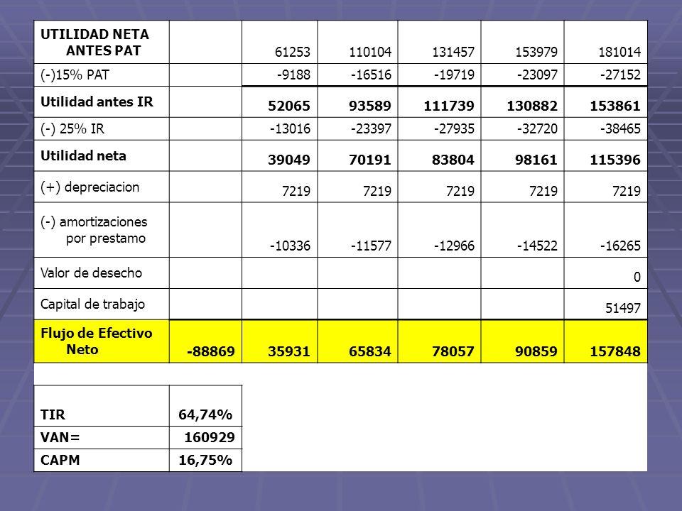 UTILIDAD NETA ANTES PAT 61253110104131457153979181014 (-)15% PAT -9188-16516-19719-23097-27152 Utilidad antes IR 5206593589111739130882153861 (-) 25%