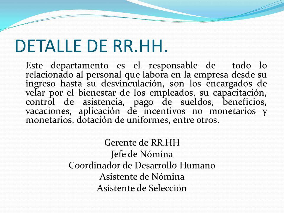 DETALLE DE RR.HH. Este departamento es el responsable de todo lo relacionado al personal que labora en la empresa desde su ingreso hasta su desvincula