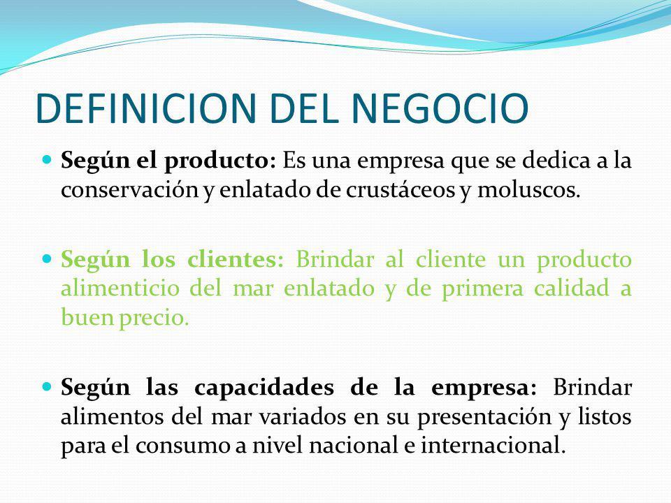 DEFINICION DEL NEGOCIO Según el producto: Es una empresa que se dedica a la conservación y enlatado de crustáceos y moluscos. Según los clientes: Brin