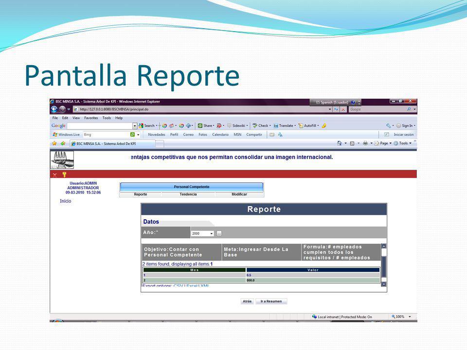 Pantalla Reporte