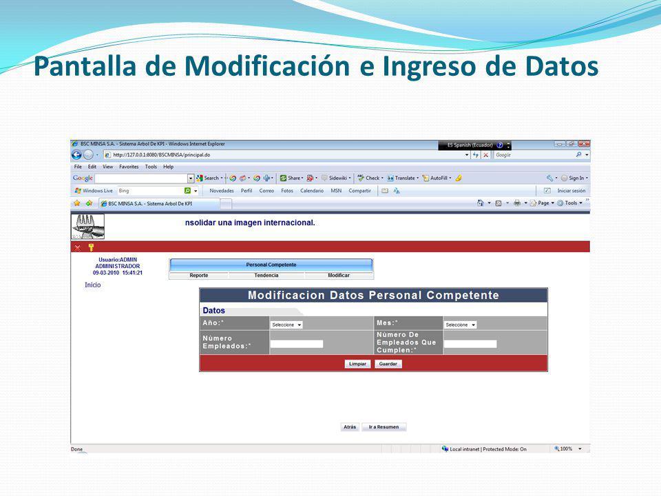 Pantalla de Modificación e Ingreso de Datos