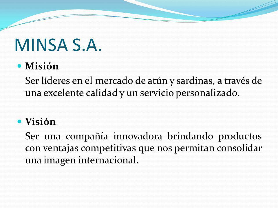Misión Ser líderes en el mercado de atún y sardinas, a través de una excelente calidad y un servicio personalizado. Visión Ser una compañía innovadora
