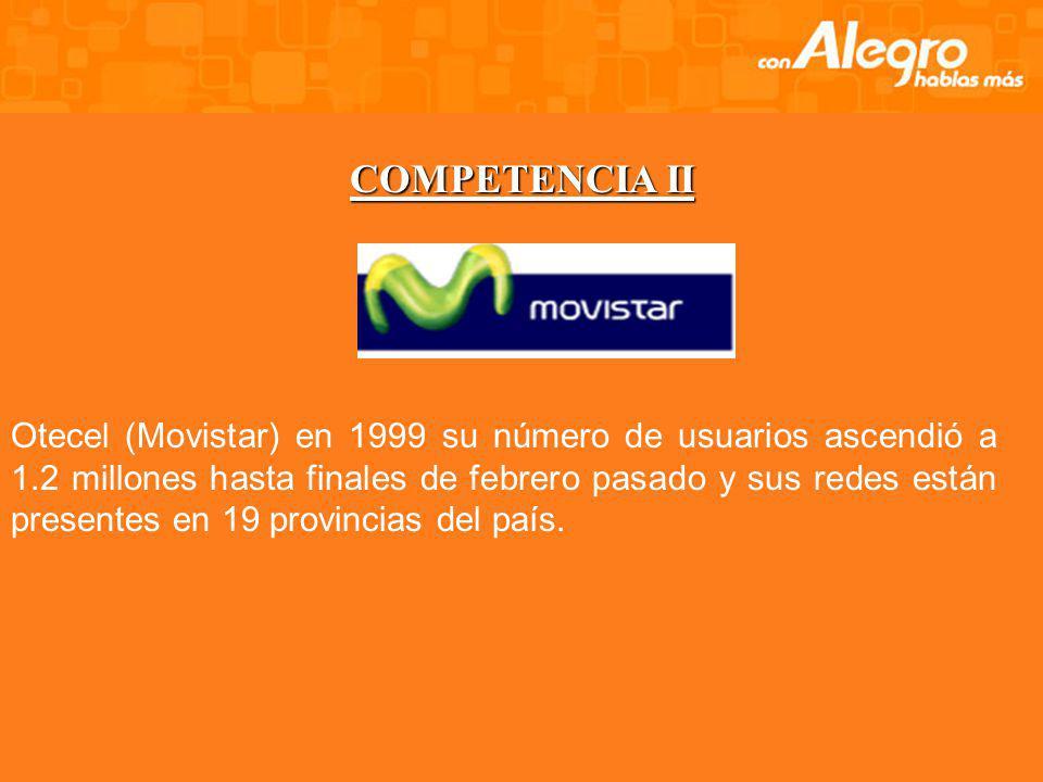 COMPETENCIA En primer lugar está Conecel (Porta) con 2,5 millones de usuarios acumulados desde 1993 y subsidiaria del grupo mexicano América Móvil, co