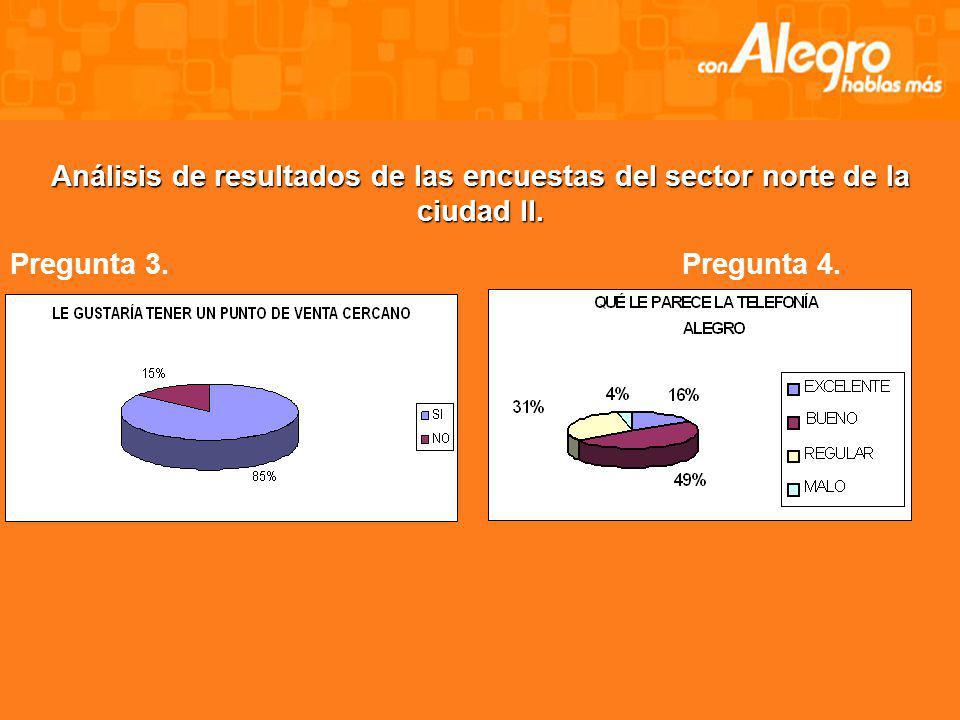 Análisis de resultados de las encuestas del sector norte de la ciudad. Pregunta 1.Pregunta 2.