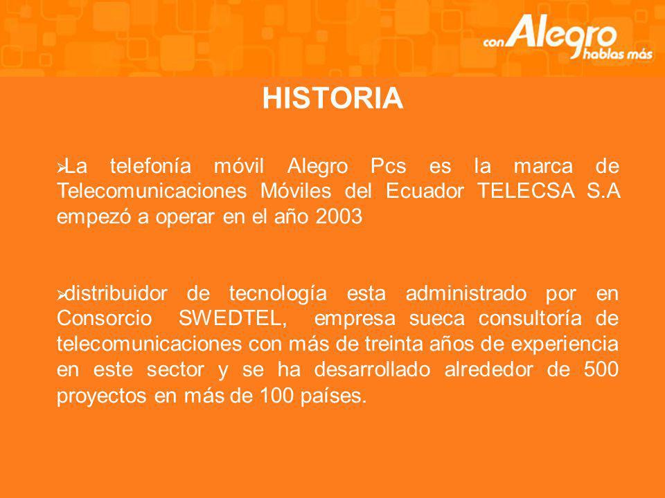 HISTORIA La telefonía móvil Alegro Pcs es la marca de Telecomunicaciones Móviles del Ecuador TELECSA S.A empezó a operar en el año 2003 distribuidor de tecnología esta administrado por en Consorcio SWEDTEL, empresa sueca consultoría de telecomunicaciones con más de treinta años de experiencia en este sector y se ha desarrollado alrededor de 500 proyectos en más de 100 países.