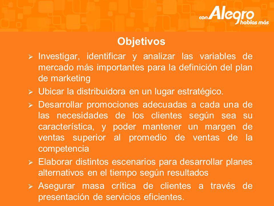 Objetivos Investigar, identificar y analizar las variables de mercado más importantes para la definición del plan de marketing Ubicar la distribuidora en un lugar estratégico.