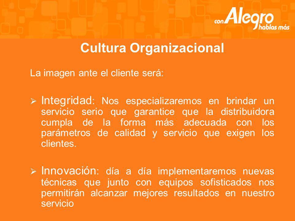 Cultura Organizacional La imagen ante el cliente será: Integridad : Nos especializaremos en brindar un servicio serio que garantice que la distribuidora cumpla de la forma más adecuada con los parámetros de calidad y servicio que exigen los clientes.