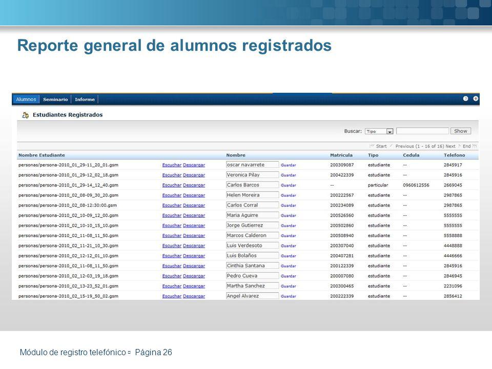 Reporte general de alumnos registrados Módulo de registro telefónico Página 26