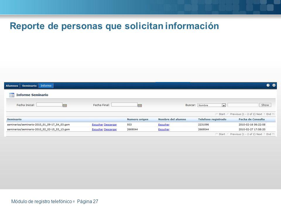 Reporte de personas que solicitan información Módulo de registro telefónico Página 27