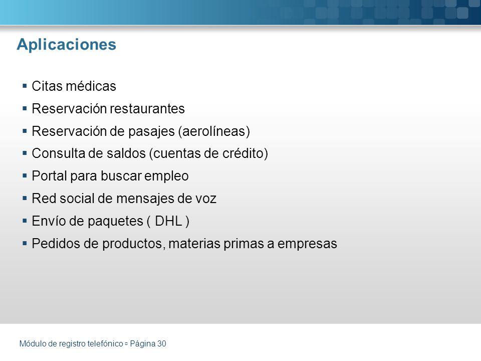 Aplicaciones Módulo de registro telefónico Página 30 Citas médicas Reservación restaurantes Reservación de pasajes (aerolíneas) Consulta de saldos (cu