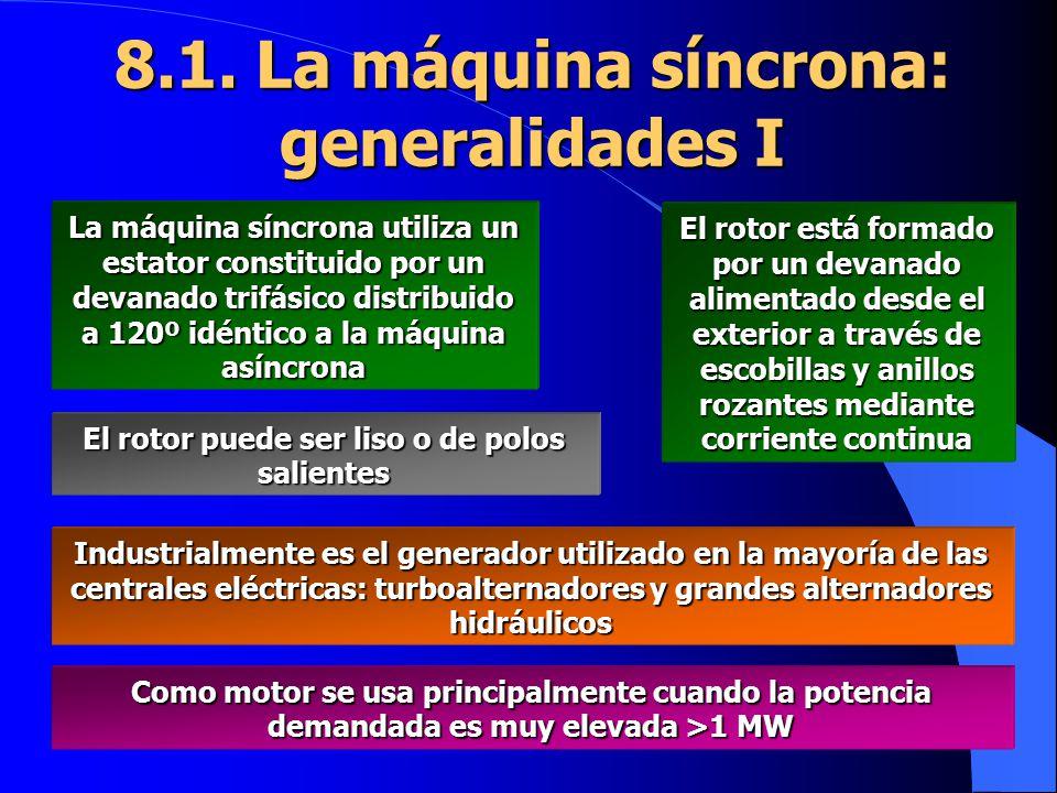 8.1. La máquina síncrona: generalidades I La máquina síncrona utiliza un estator constituido por un devanado trifásico distribuido a 120º idéntico a l