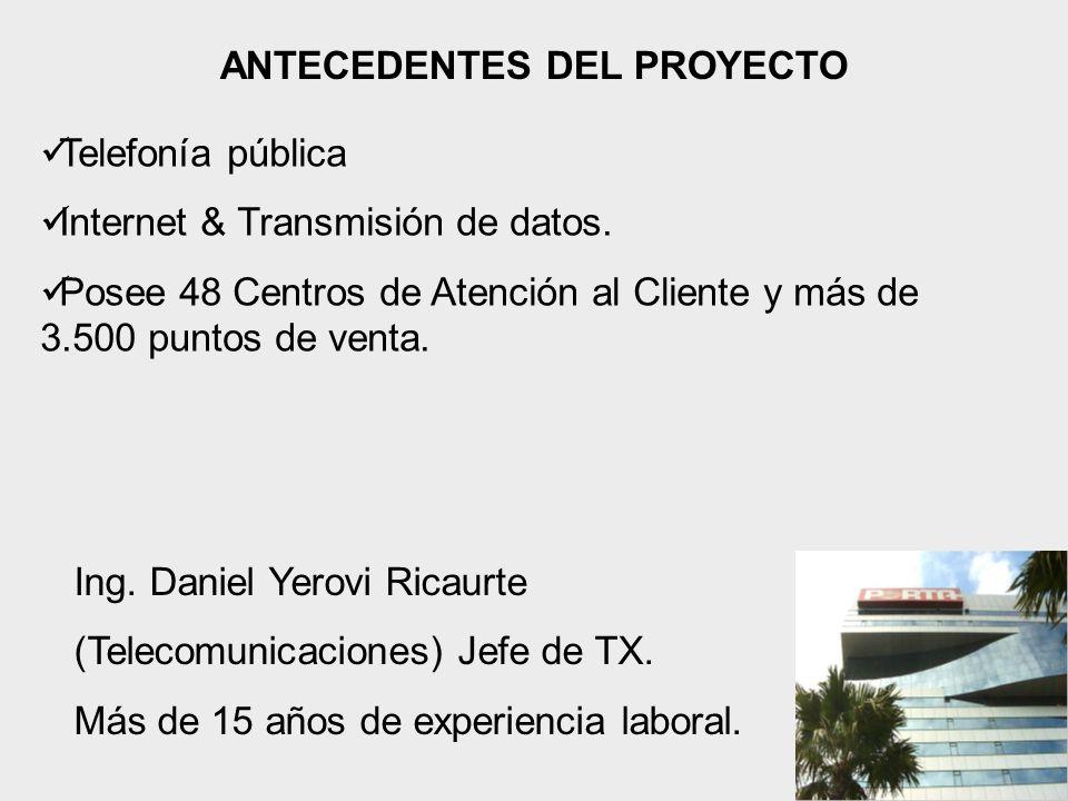 ANTECEDENTES DEL PROYECTO Telefonía pública Internet & Transmisión de datos.