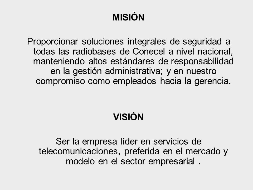 MISIÓN Proporcionar soluciones integrales de seguridad a todas las radiobases de Conecel a nivel nacional, manteniendo altos estándares de responsabilidad en la gestión administrativa; y en nuestro compromiso como empleados hacia la gerencia.