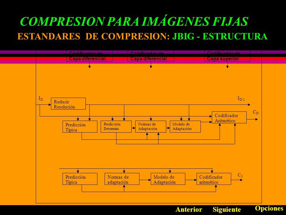 COMPRESION PARA IMÁGENES FIJAS ESTANDARES DE COMPRESION: ESTANDARES DE COMPRESION: JBIG Aprobada por el ISO y el CCITT Compresión sin Pérdida Es un sistema Binivel (Blanco y Negro) Utiliza la decodificación progresiva Una imagen es capturada con compresión de baja resolución y una secuencia delta que permita duplicar la resolución.