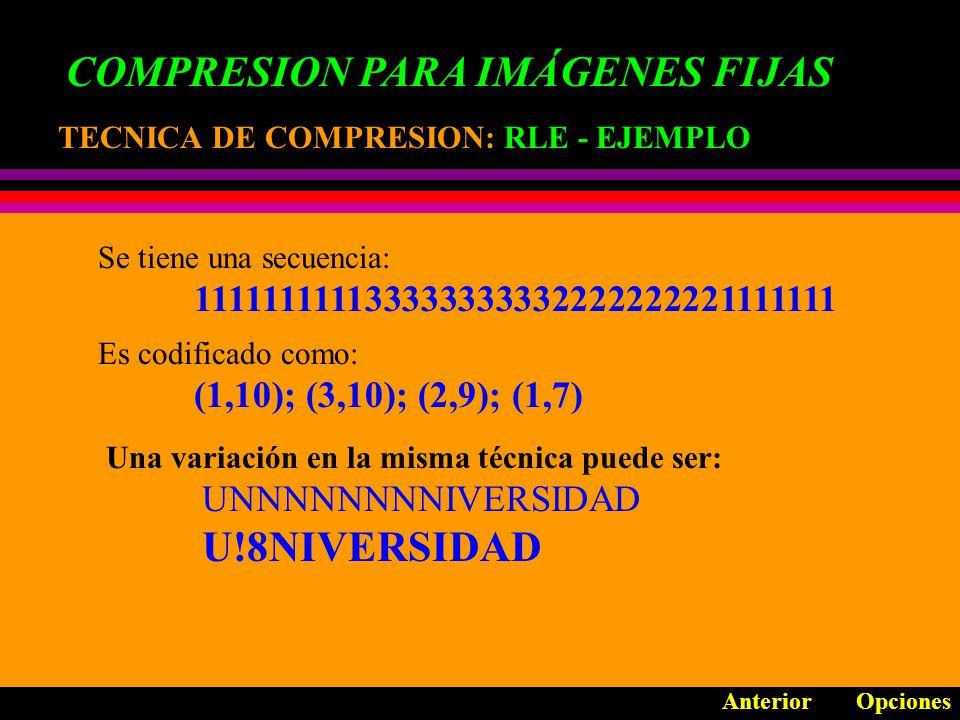 COMPRESION PARA IMÁGENES FIJAS TECNICA DE COMPRESION: TECNICA DE COMPRESION: MAPEO DE COLOR Anterior Opciones MAXIMO 256 COLORES MAPA DE COLOR MILLONES DE COLORES