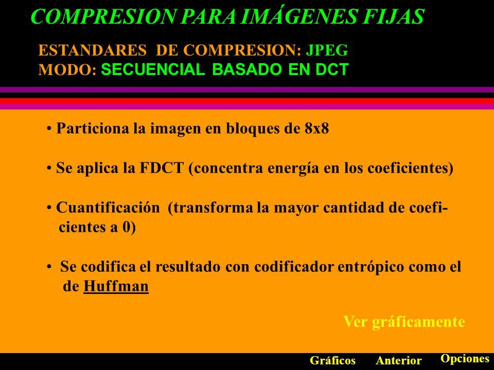 COMPRESION PARA IMÁGENES FIJAS ESTANDARES DE COMPRESION: ESTANDARES DE COMPRESION: JPEG Constituye un estándar universal sacrificando información no significativa.