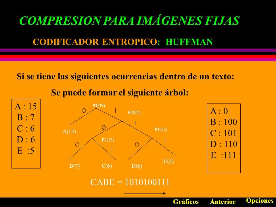 B COMPRESION PARA IMÁGENES FIJAS ESTANDARES DE COMPRESION: ESTANDARES DE COMPRESION: JPEG MODO: SECUENCIAL BASADO EN DCT Anterior Opciones Gráficos G R..........