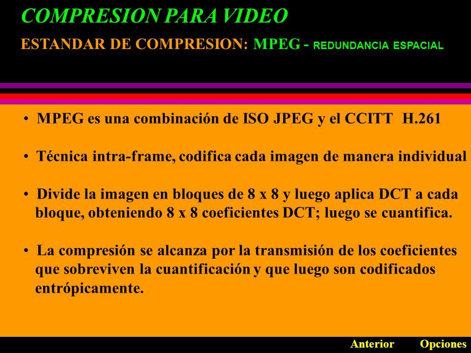 COMPRESION PARA VIDEO ESTANDAR DE COMPRESION: MPEG-1 OpcionesAnterior Permite acceso aleatorio, avance rápido y rebobinado] Su objetivo es alcanzar la mayor calidad de la cantidad de bits dado.