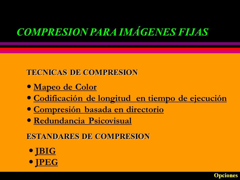 COMPRESION PARA VIDEO ESTANDAR DE COMPRESION: MOTION JPEG Está basado en JPEG e incluye mejoras para imágenes en movimiento.
