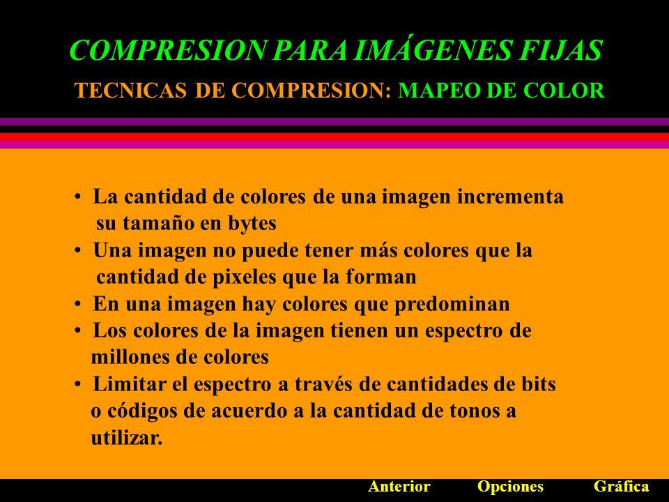 COMPRESION PARA IMÁGENES FIJAS TECNICAS DE COMPRESION Mapeo de Color Codificación de longitud en tiempo de ejecución Compresión basada en directorio Redundancia Psicovisual ESTANDARES DE COMPRESION JBIG JPEG Opciones