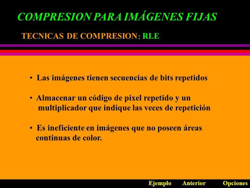 COMPRESION PARA IMÁGENES FIJAS TECNICAS DE COMPRESION: TECNICAS DE COMPRESION: MAPEO DE COLOR La cantidad de colores de una imagen incrementa su tamaño en bytes Una imagen no puede tener más colores que la cantidad de pixeles que la forman En una imagen hay colores que predominan Los colores de la imagen tienen un espectro de millones de colores Limitar el espectro a través de cantidades de bits o códigos de acuerdo a la cantidad de tonos a utilizar.