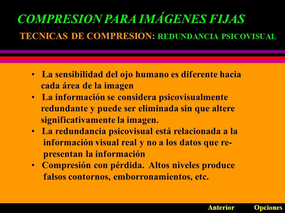 COMPRESION PARA IMÁGENES FIJAS TECNICAS DE COMPRESION: TECNICAS DE COMPRESION: REDUNDANCIA PSICOVISUAL La sensibilidad del ojo humano es diferente hacia cada área de la imagen La información se considera psicovisualmente redundante y puede ser eliminada sin que altere significativamente la imagen.