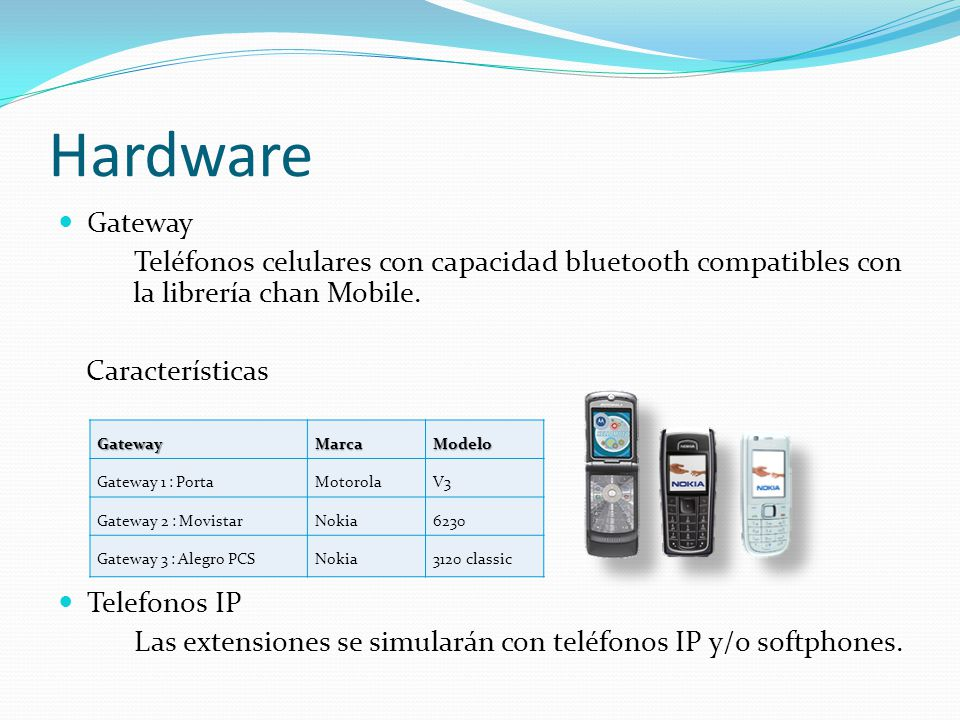 Hardware Gateway Teléfonos celulares con capacidad bluetooth compatibles con la librería chan Mobile.